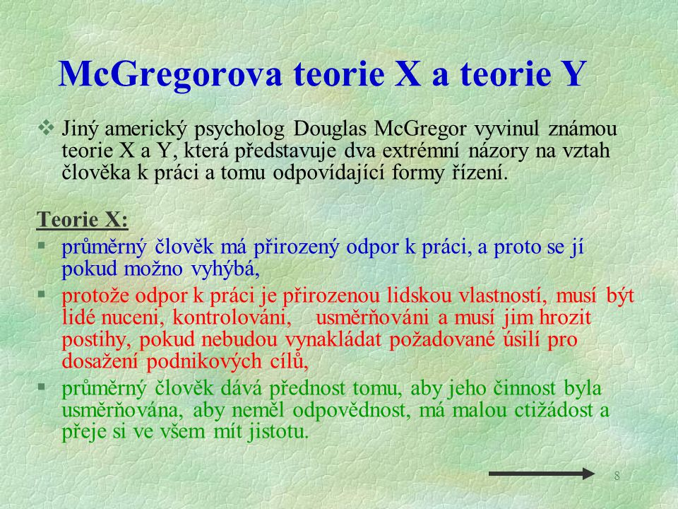 McGregorova teorie X a teorie Y