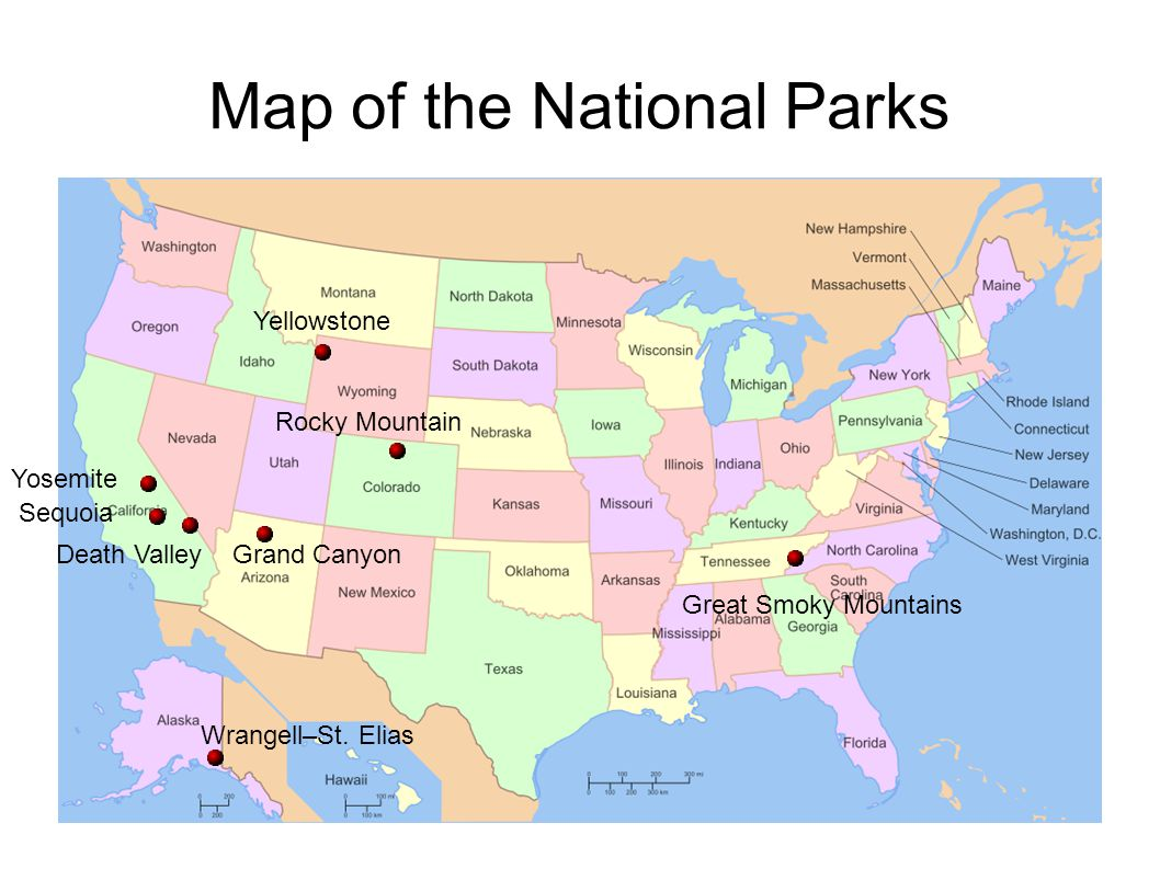 Map of the National Parks
