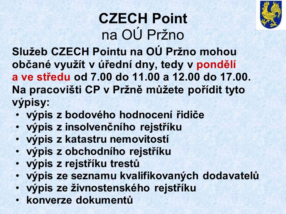 CZECH Point na OÚ Pržno
