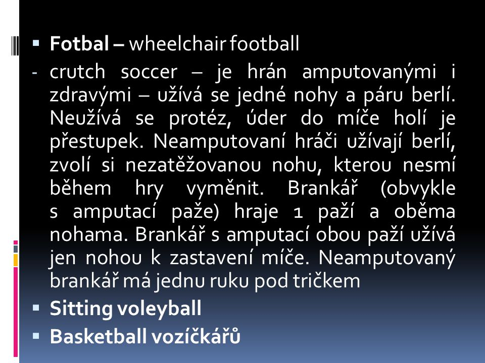 Fotbal – wheelchair football