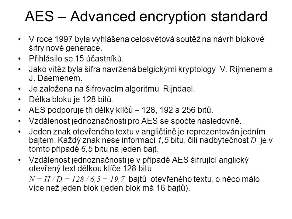 AES – Advanced encryption standard