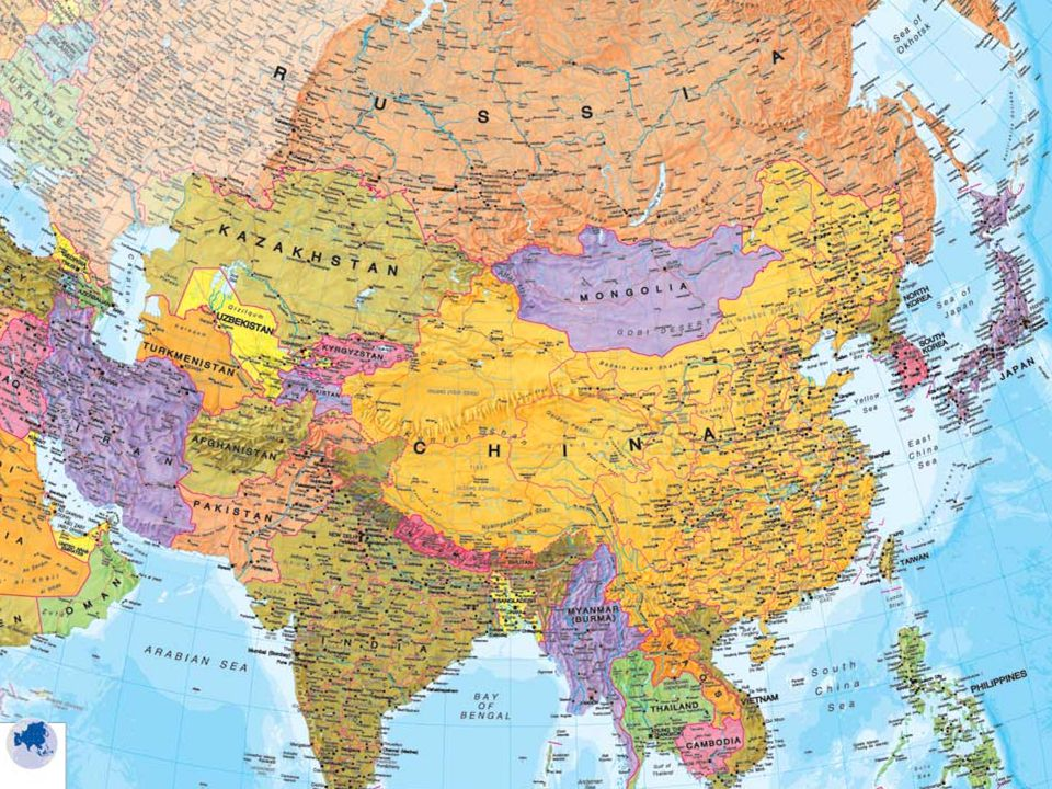 Obsah Asie Mapa Asie Rozdeleni Asie Hranice Clenitost Povrch