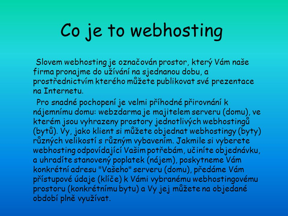 Co je to webhosting