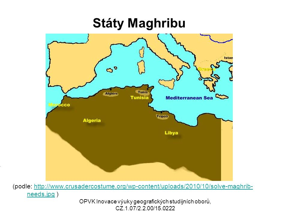 Státy Maghribu (podle: http://www.crusadercostume.org/wp-content/uploads/2010/10/solve-maghrib-needs.jpg )