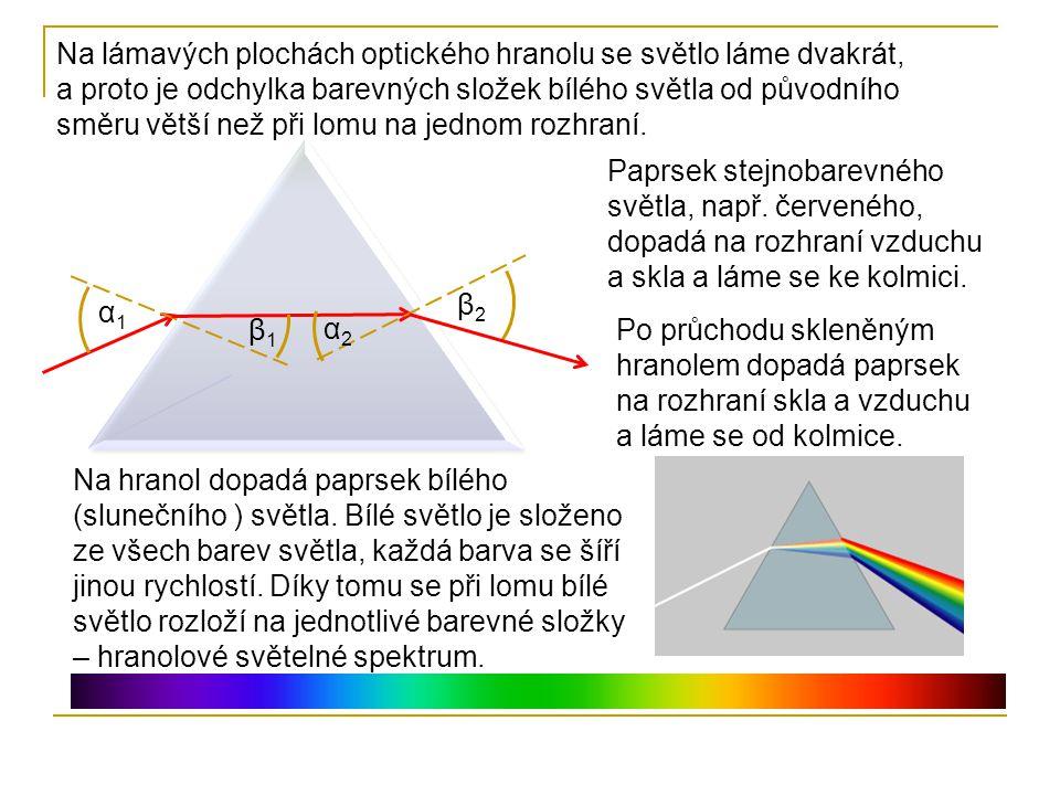 296b2b892 Na lámavých plochách optického hranolu se světlo láme dvakrát, a proto je  odchylka barevných složek. 3 Bílé denní ...
