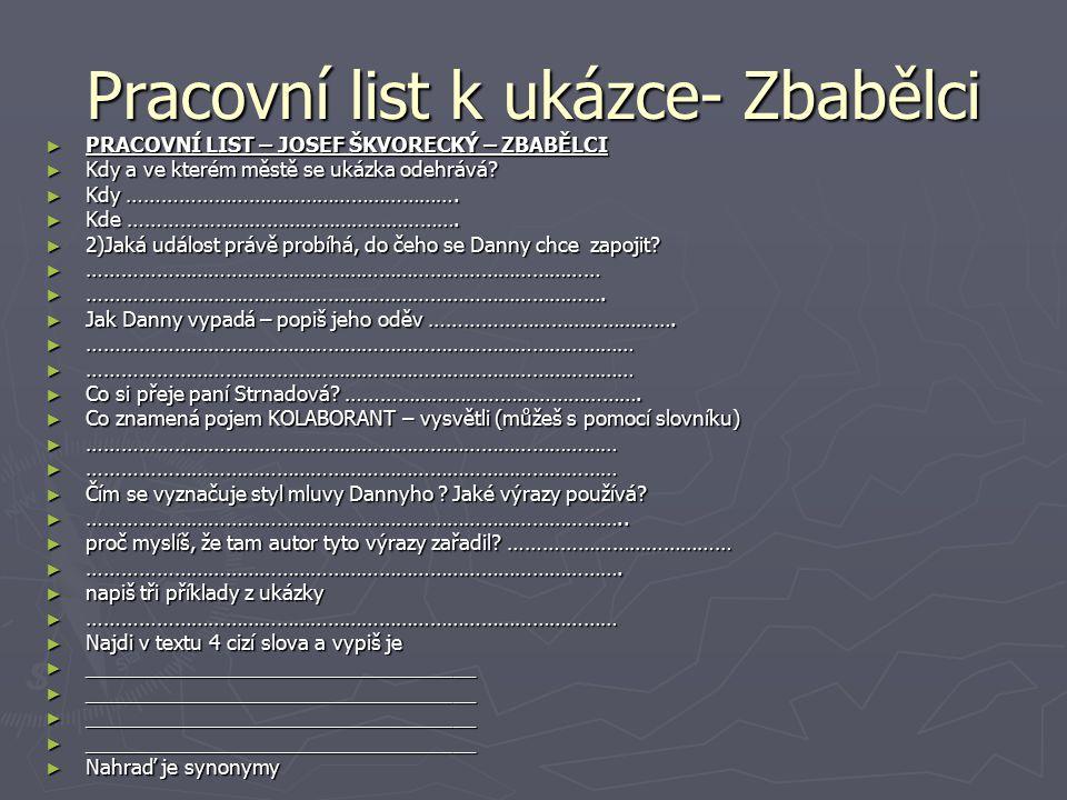 Josef Skvorecky Nachod Ppt Stahnout
