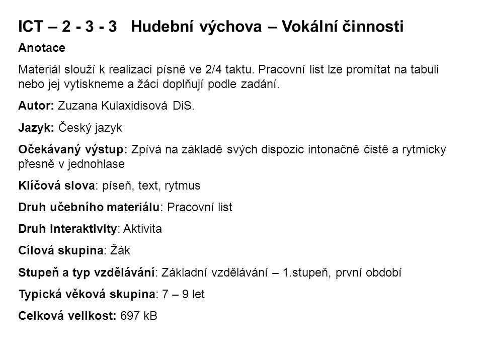 Ict Hudebni Vychova Vokalni Cinnosti Ppt Stahnout