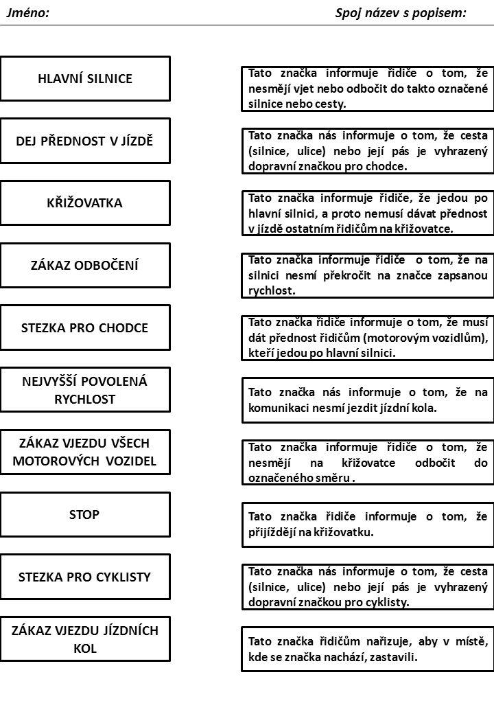 Pracovni Listy Dopravni Znacky Ppt Stahnout